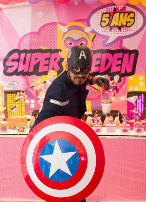 Super héros capitaine america anniversaire animation enfants buffet
