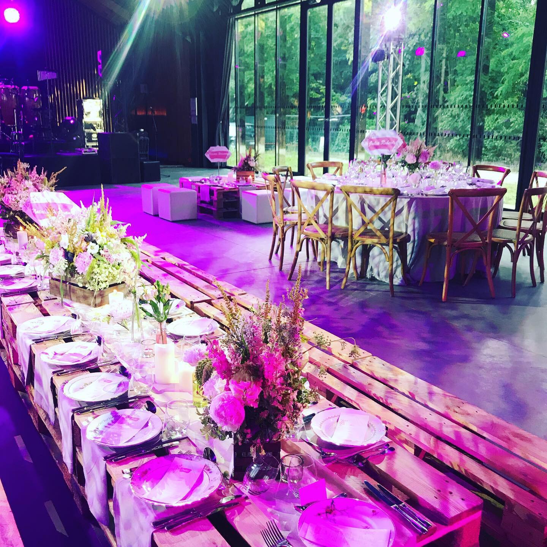 Bar mitzvah violet salle spectacle salle des fêtes tables décoration adultes spots de lumière groupe de musique