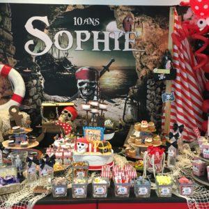 Pirates enfant buffet décoration affiche Sophie gâteaux